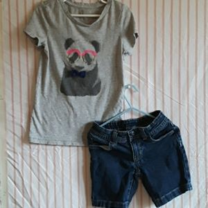 Cat and Jack tee/Faded Glory shorts